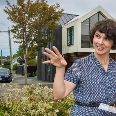 UC researcher Dr Rita Dionisio visits greyfields space with redevelopment potential in Ōtautahi Christchurch. She is leading a new Research Programme creating map-based tools for community and rūnanga-led, sustainable town planning in small and medium settlements, which has been funded $2,570,250 over the next five years.